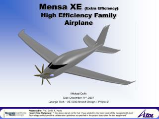 Mensa XE  (Extra Efficiency) High Efficiency Family Airplane