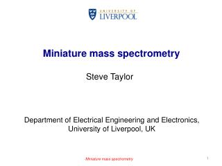 Miniature mass spectrometry