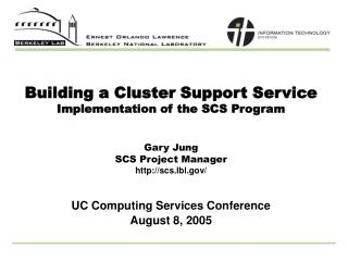 Building a Cluster Support Service Implementation of the SCS Program