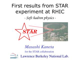 First results from STAR experiment at RHIC - Soft hadron physics -