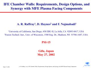 IFE Chamber Walls: Requirements, Design Options, and Synergy with MFE Plasma Facing Components