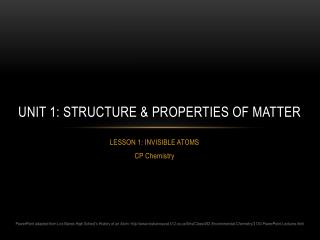 Unit 1: Structure & Properties of Matter