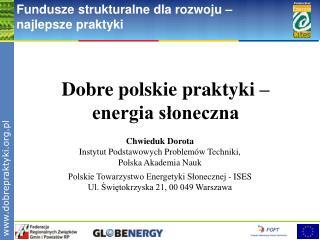 Dobre polskie praktyki –  energia słoneczna