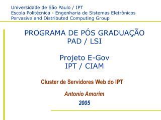 PROGRAMA DE PÓS GRADUAÇÃO PAD / LSI Projeto E-Gov IPT / CIAM