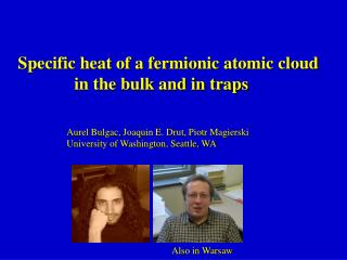 Specific heat of a fermionic atomic cloud              in the bulk and in traps