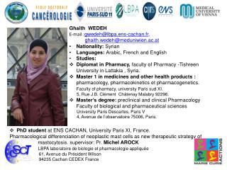 Ghaith  WEDEH                       E-mail : gwedeh@lbpa.ens-cachan.fr ,