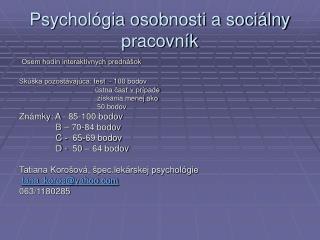 Psychol gia osobnosti a soci lny pracovn k