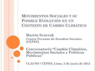 Movimientos Sociales y su Posible Evolución en un Contexto de Cambio Climático