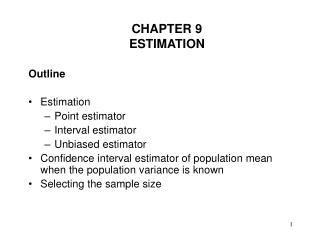 CHAPTER 9 ESTIMATION
