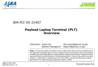 Payload Laptop Terminal (PLT)  Overview