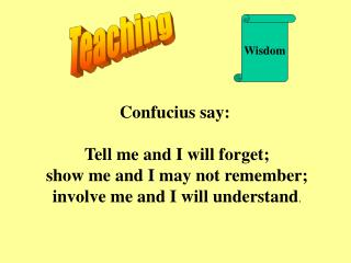 Confucius say:  Tell me and I will forget;  show me and I may not remember;