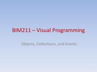 BIM211 – Visual Programming