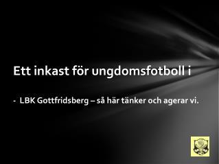 Ett inkast för ungdomsfotboll i -  LBK Gottfridsberg  –  så  här tänker och agerar vi.