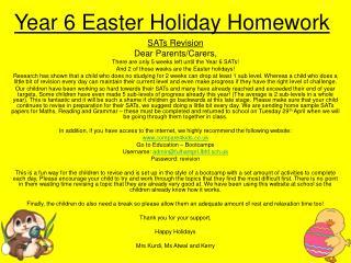 Year 6 Easter Holiday Homework