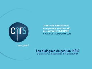 Les dialogues de gestion INSIS
