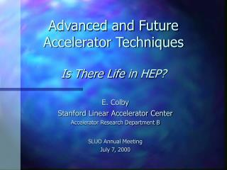 Advanced and Future Accelerator Techniques Is There Life  in  HEP?