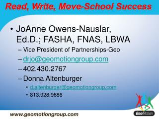 Read, Write, Move-School Success