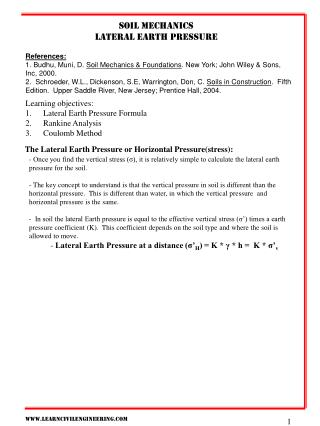Soil mechanics Lateral earth pressure