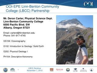OOI-EPE Linn-Benton Community  College  (LBCC)  Partnership