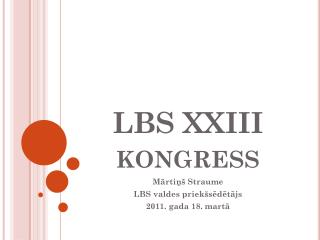 LBS XXIII kongress