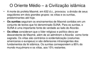 O Oriente M dio   a Civiliza  o isl mica