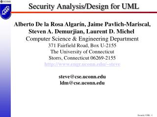 Security Analysis/Design for UML