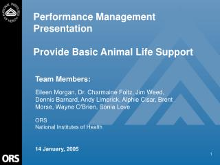 Performance Management Presentation Provide Basic Animal Life Support