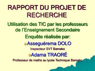 RAPPORT DU PROJET DE RECHERCHE