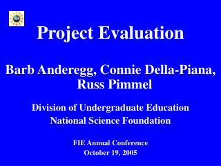 Project Evaluation Barb Anderegg, Connie Della-Piana,  Russ Pimmel