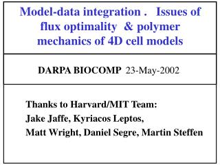 Model-data integration .   Issues of flux optimality  & polymer mechanics of 4D cell models
