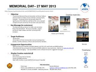 MEMORIAL DAY– 27 MAY 2013