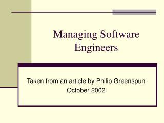 Managing Software Engineers