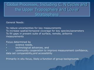 Global Processes, Including C, N  Cycles  and the Upper Troposphere and Lower Stratosphere