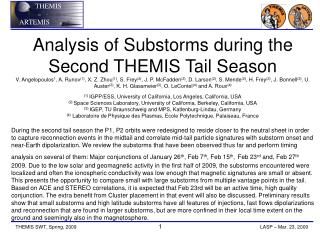 Analysis of Substorms during the  Second THEMIS Tail Season