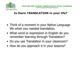 Is there TRANSLATION in your life?