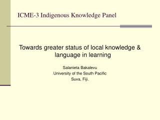 ICME-3 Indigenous Knowledge Panel