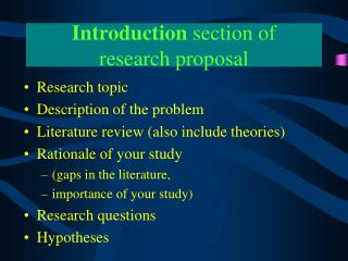 Introduction section of  research proposal