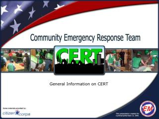 General Information on CERT