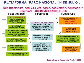PLATAFORMA   PARO NACIONAL  14 DE JULIO :