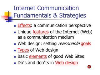 Internet Communication Fundamentals  Strategies