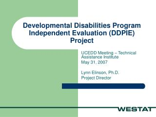 Developmental Disabilities Program Independent Evaluation DDPIE Project