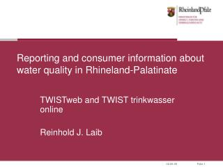 Reporting and consumer information about water quality in Rhineland-Palatinate