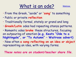 What is an ode?
