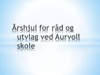 Årshjul  for råd og  utvlag  ved Aurvoll skole