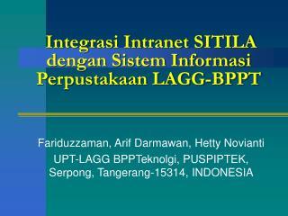 Integrasi Intranet SITILA dengan Sistem Informasi Perpustakaan LAGG-BPPT