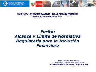 Forito: Alcance  y L�mite de Normativa Regulatoria para la Inclusi�n  Financiera