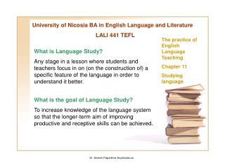 University of Nicosia BA in English Language and Literature LALI 441 TEFL
