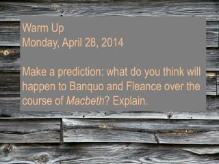 Warm Up Wednesday, April 30, 2014 No Warm Up LAGC