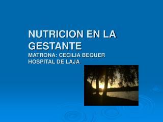 NUTRICION EN LA  GESTANTE MATRONA: CECILIA BEQUER  HOSPITAL DE LAJA