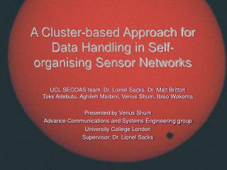 A Cluster-based Approach for Data Handling in Self-organising Sensor Networks